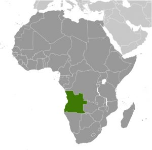 Angola in Africa map