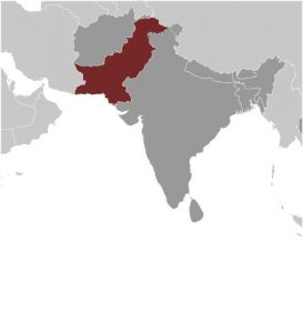Pakistan in Asia map