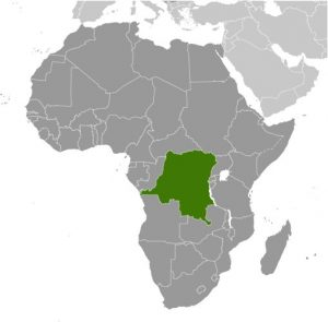 D R Congo in Africa map