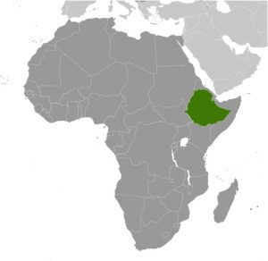 Ethiopia in Africa map