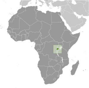 Rwanda in Africa map