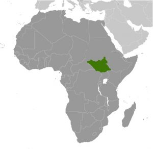 South Sudan in Africa map