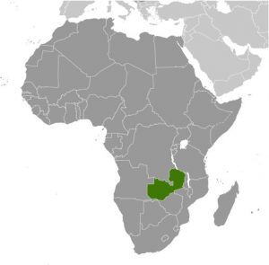 Zambia in Africa map