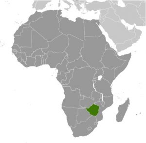 Zimbabwe in Africa map