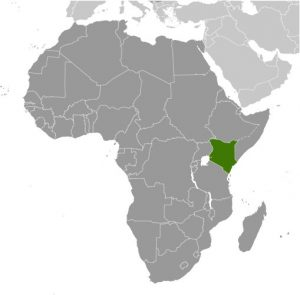 Kenya in Africa map