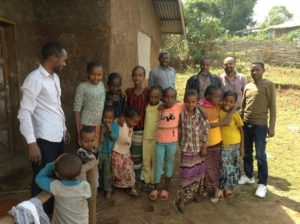 adults and children at kindergarten in Ethiopia